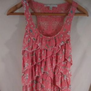 LC Lauren Conrad XS Pink Crochet Floral Rayon Ruff